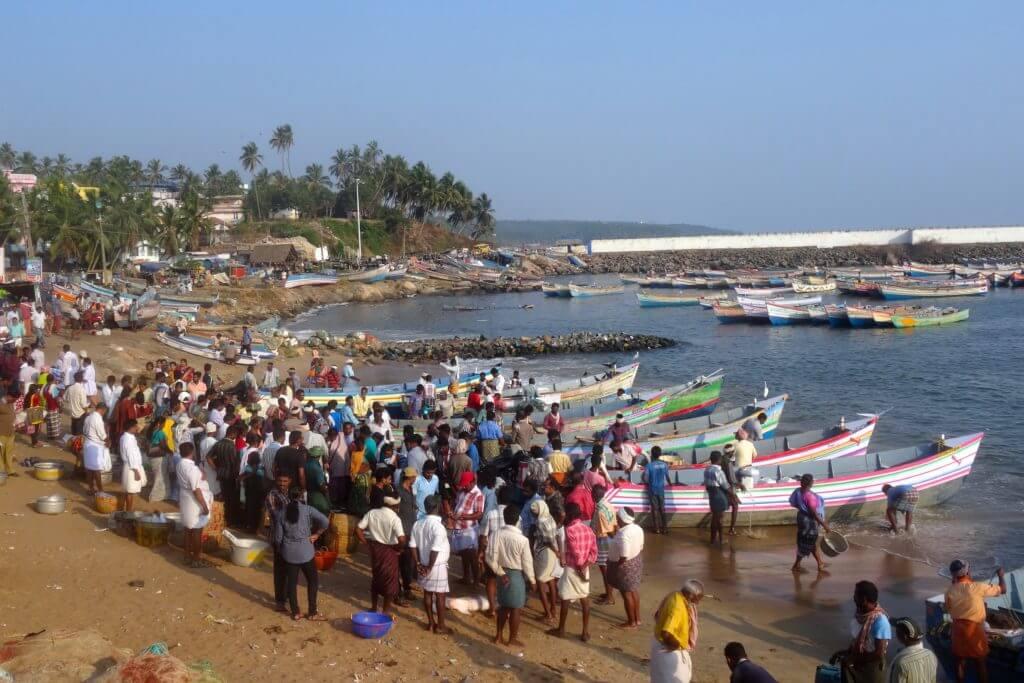 Geschäftiges Treiben am Fischerhafen von Vizhinjam