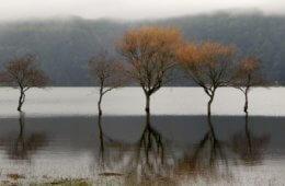 Kratersee auf den Azoren. Kratersee von Sete Cidades.