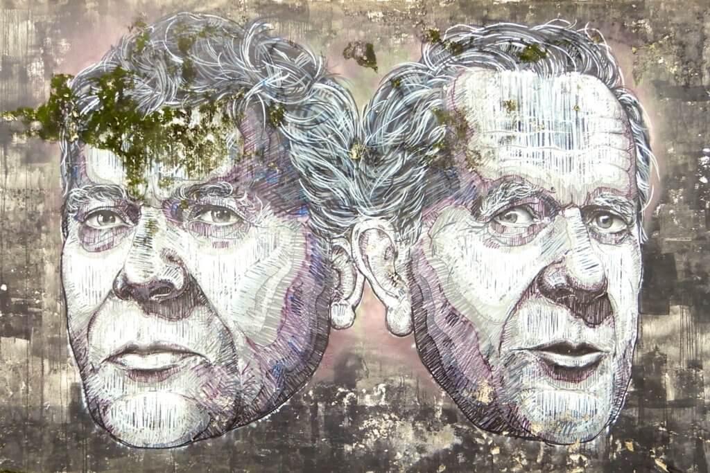 Street Art in Ponta Delgada. Portrait-Kunstwerk von Frederico Draw aus Porto.