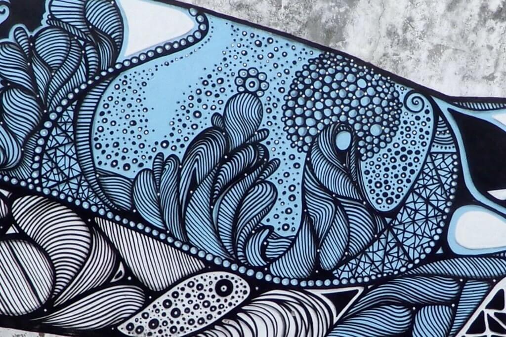 Street Art in Ponta Delgada, Azoren. Abstrakte Formen von Hazul.