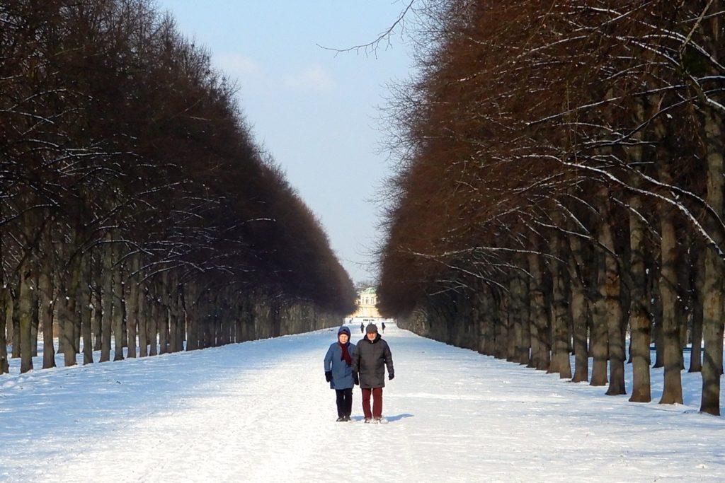 Hannover im Winter. Schneebedeckte Herrenhäuser Allee.