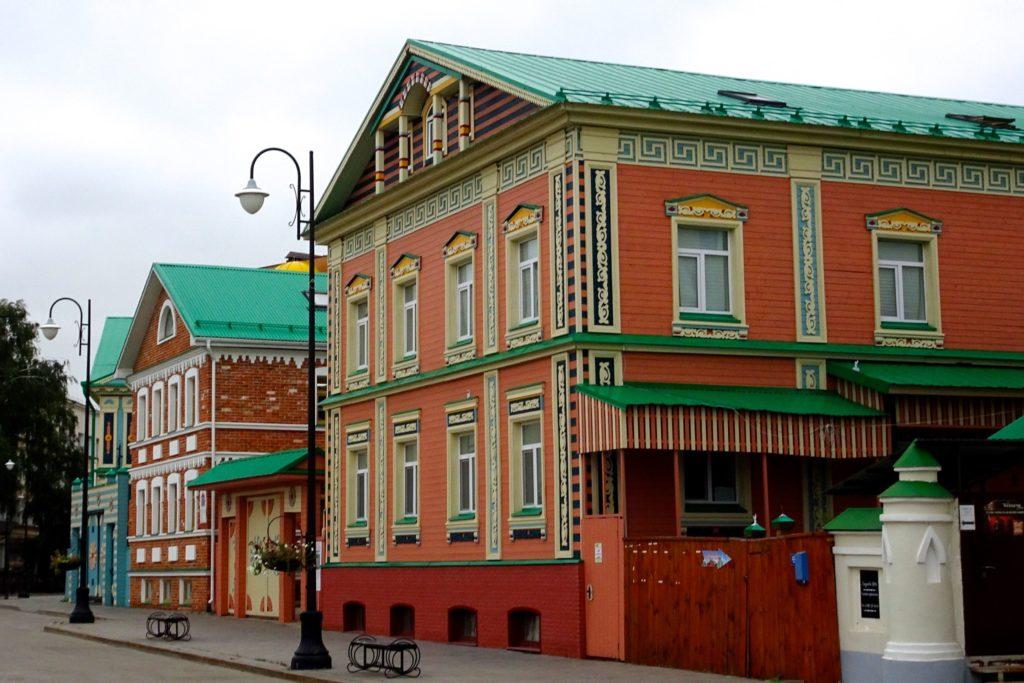 Kasan. Bunte Häuser im alten Tatarenviertel im historischen Teil der Stadt.