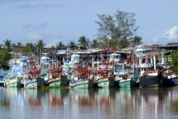 Chumphon. Bunte Fischerboote im Hafen Pak Nam Chumphon.