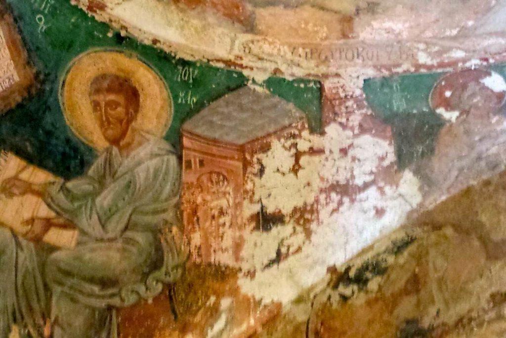 Wandmalereien im Inneren der Kapelle am Weg von Matala nach Phaistos