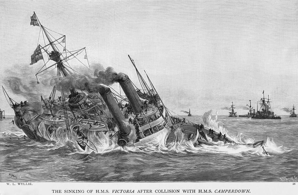 Historische Zeichnung vom Unglück der HMS Victoria