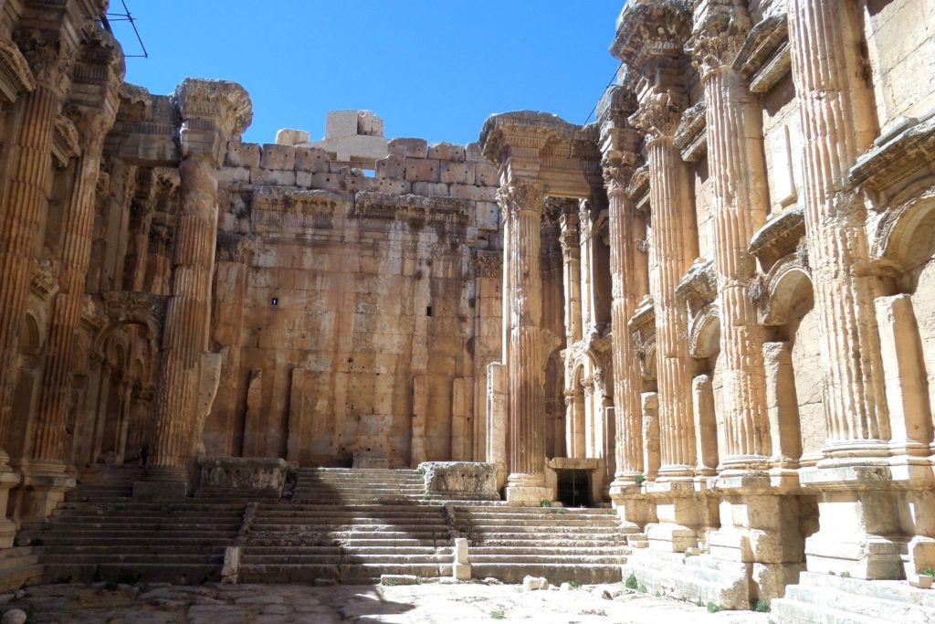 Baalbek, Libanon. Im Inneren des Bacchustempels.