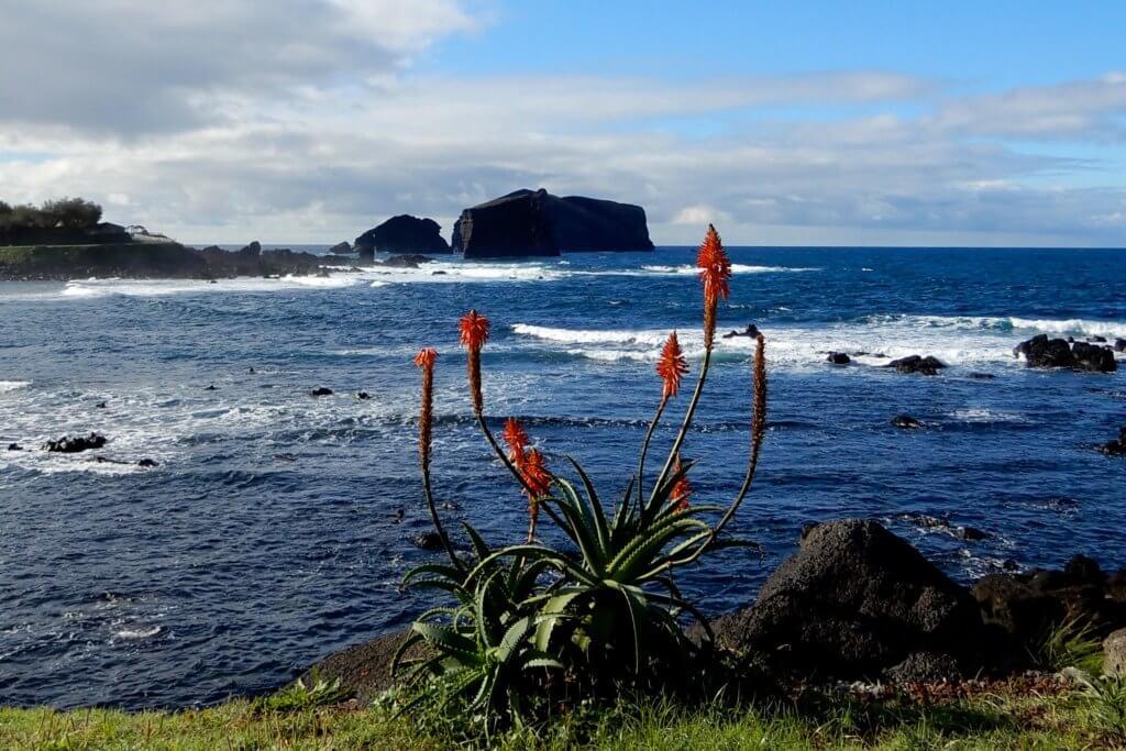 Blick auf die Küste bei Mosteiros auf dem Weg nach Sete Cidades.