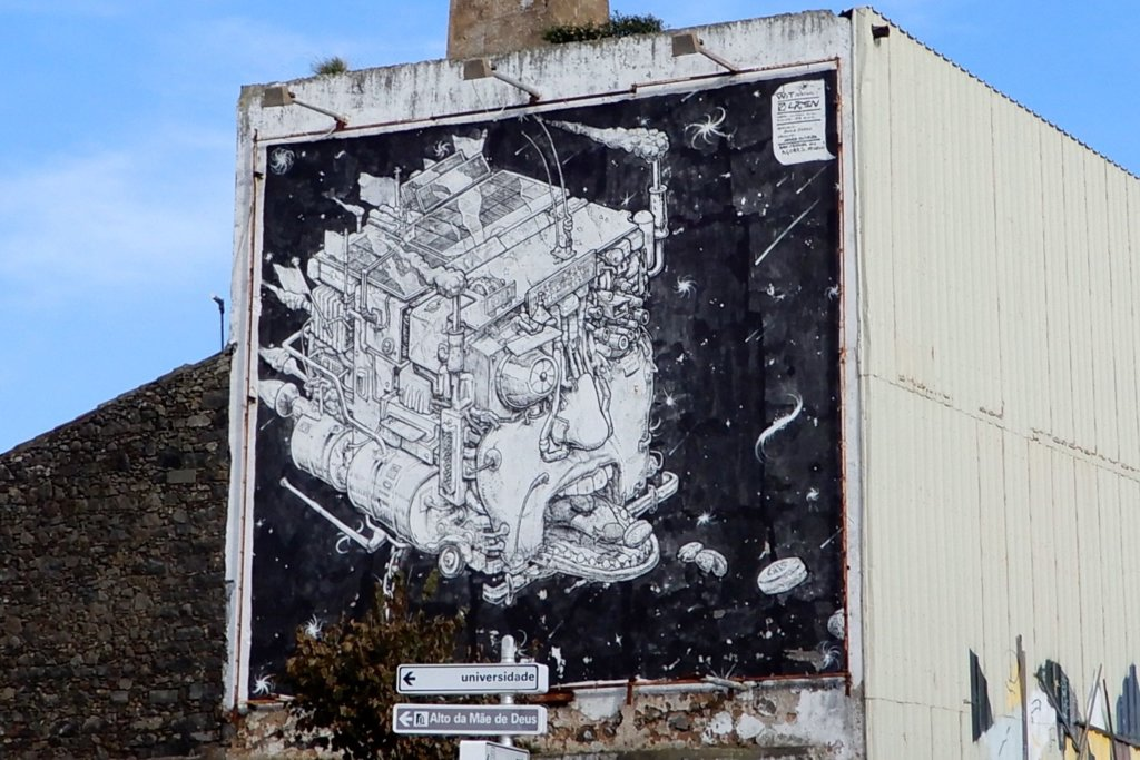 Street Art auf São Miguel. Kunstwerk des Spaniers Liqen.