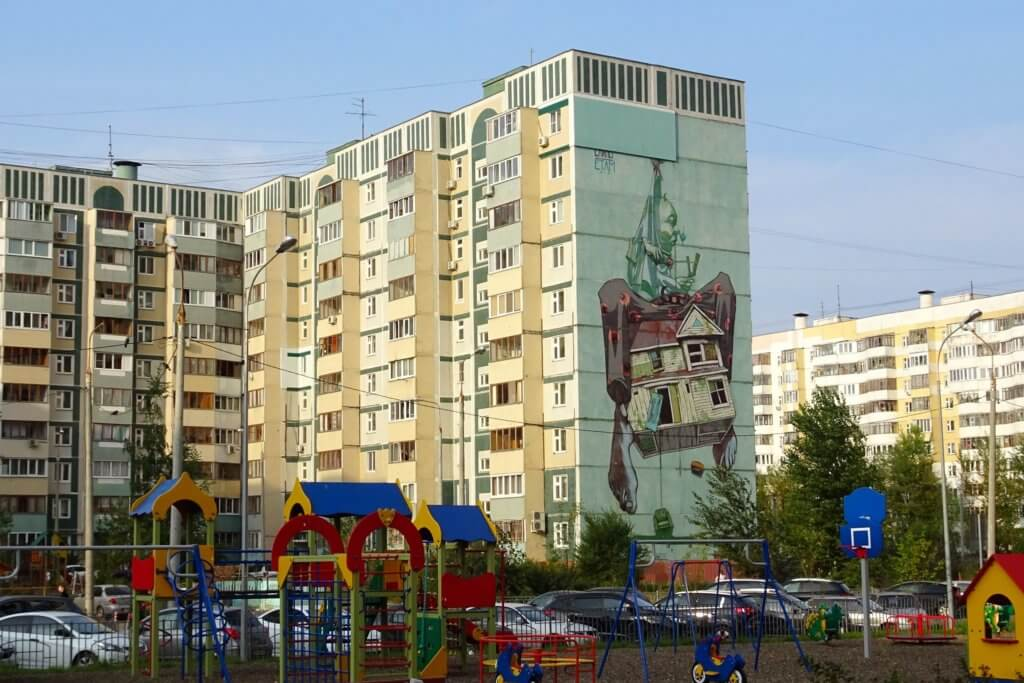 Street Art in Kasan. Urban Art im Wohngebiet.