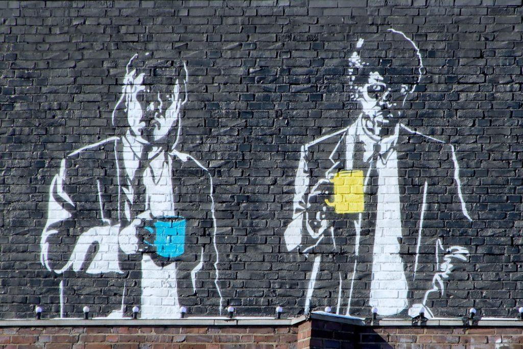 Street Art in Hannover. Das Mural am Capitol-Gebäude in Linden erinnert an den legendären Banksy.