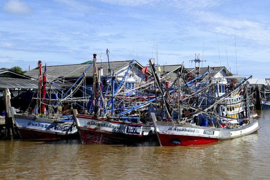 Chumphon. Bunte Fischerboote im Hafen Pak Nam.