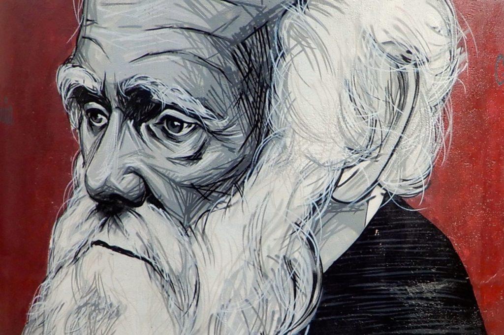 Urbane Kunst. Gemälde von Charles Darwin in Rio Tinto.