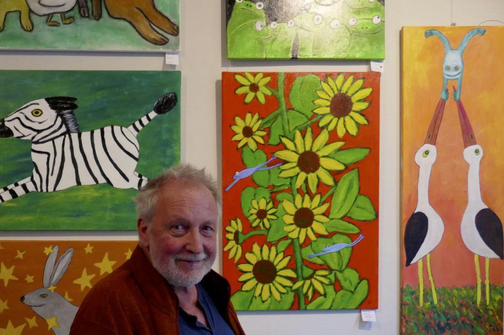 Wolfgang Supper, Maler und Bildhauer, im Café Menagerie in Hannover-Linden.