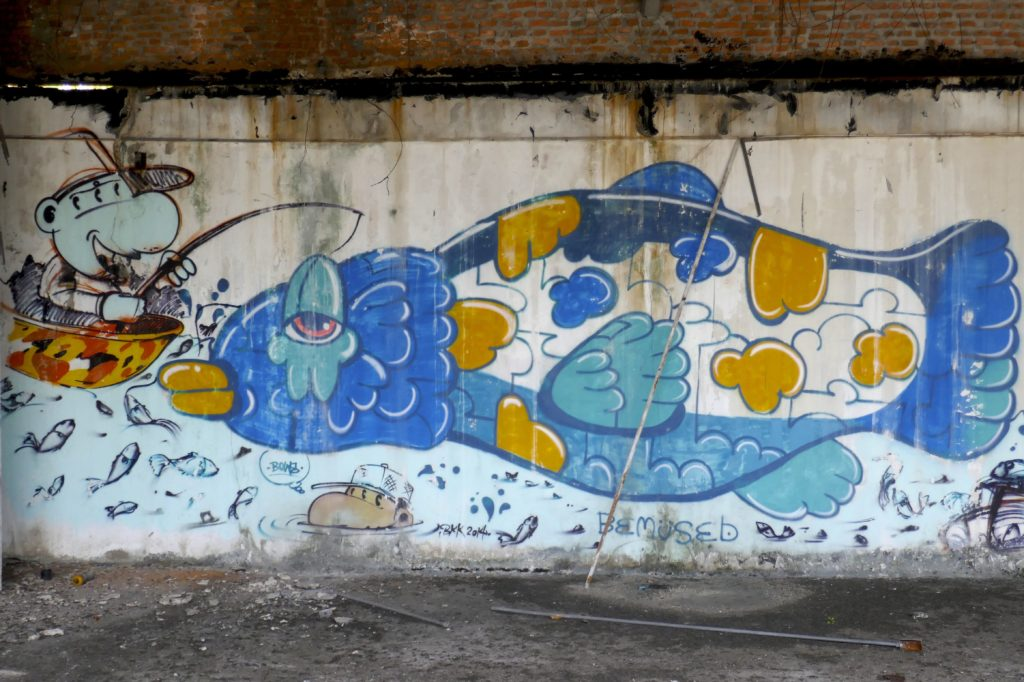 New World Mall, Bangkok. Fisch-Graffiti.