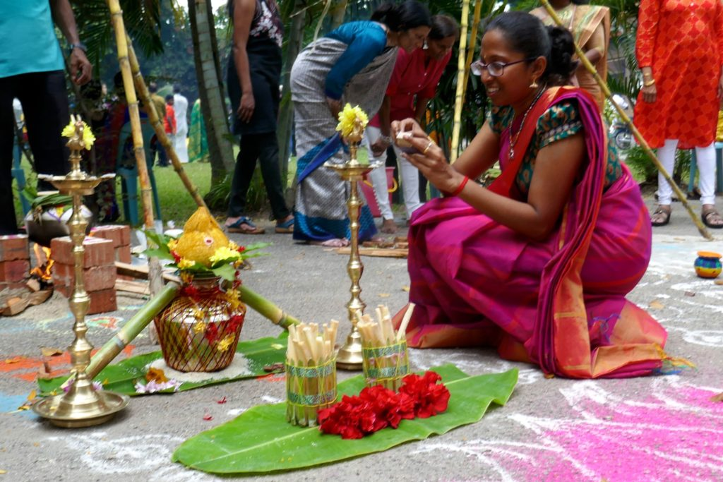 Traditionelle Erntedankrituale bei Pongal in George Town, Malaysia.