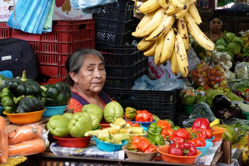Bunte Auswahl an Obst und Gemüse auf dem zentralen Markt im mexikanischen Campeche.